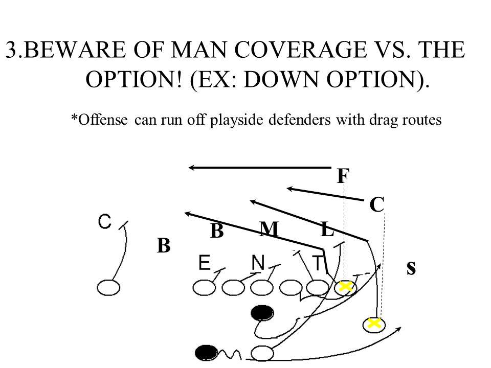 3.BEWARE OF MAN COVERAGE VS. THE OPTION! (EX: DOWN OPTION).