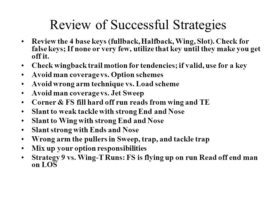 Review of Successful Strategies