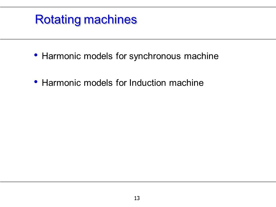 Rotating machines Harmonic models for synchronous machine