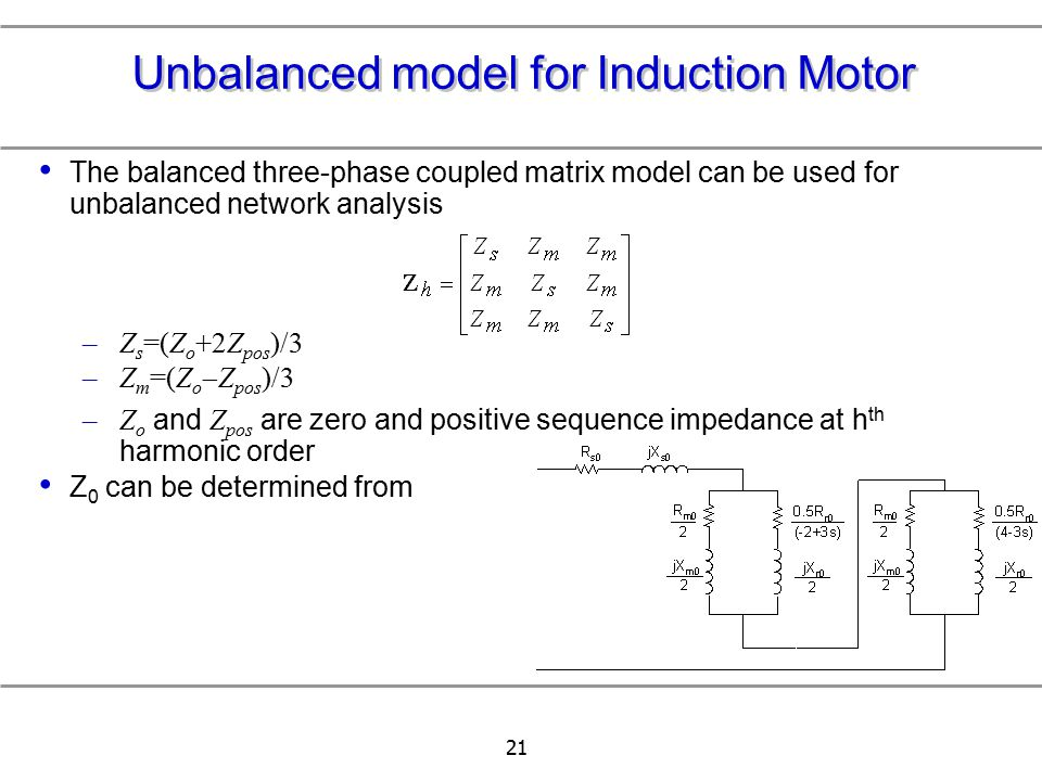 Unbalanced model for Induction Motor