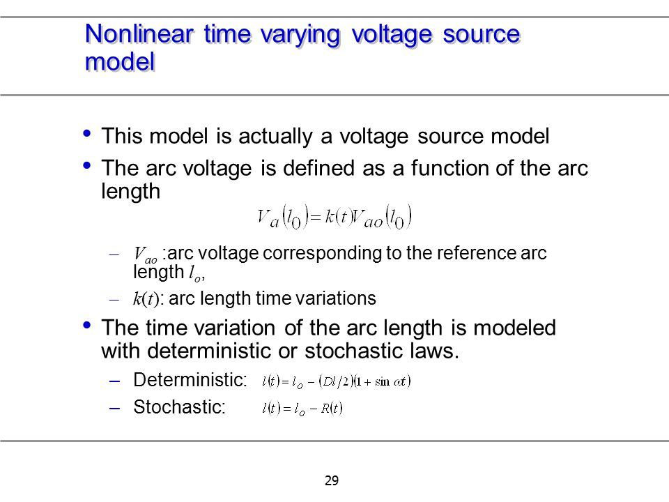 Nonlinear time varying voltage source model