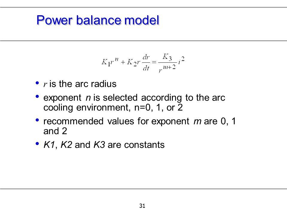 Power balance model r is the arc radius