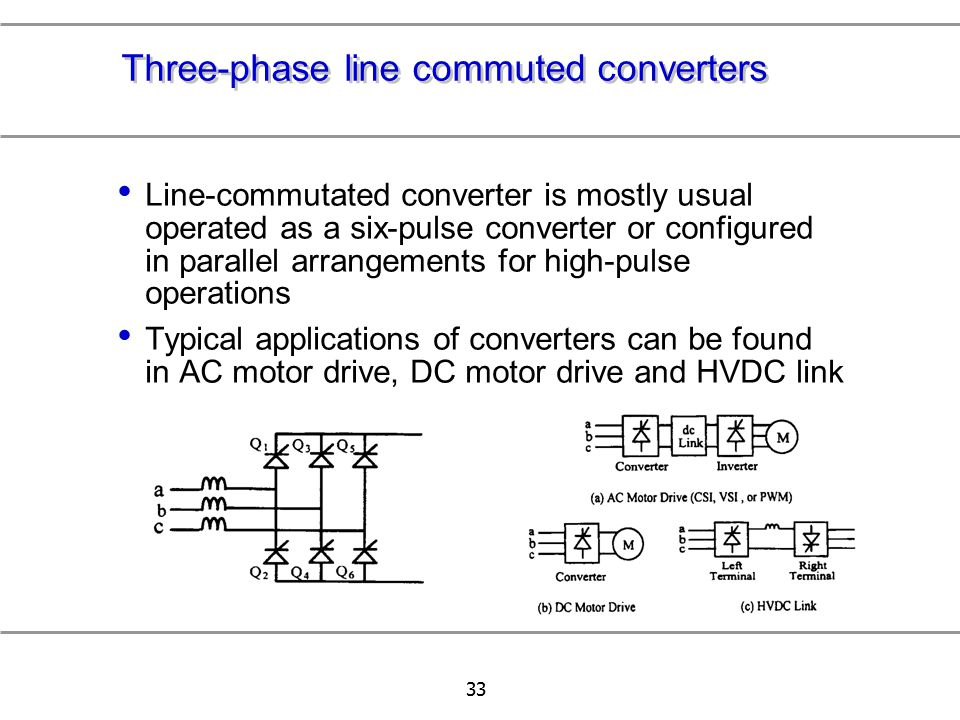 Three-phase line commuted converters