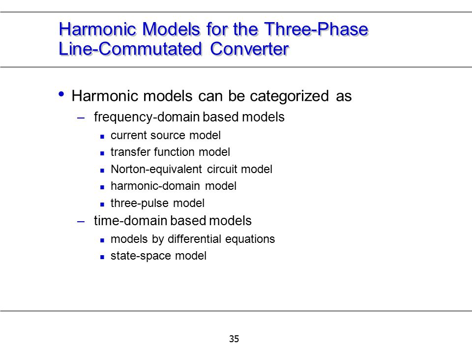 Harmonic Models for the Three-Phase Line-Commutated Converter