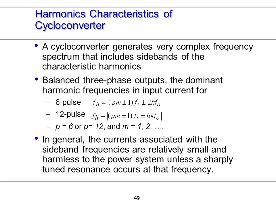 Harmonics Characteristics of Cycloconverter