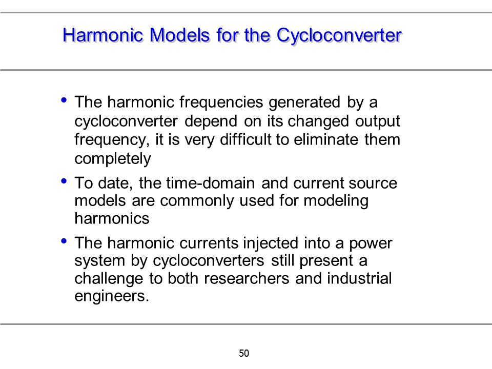 Harmonic Models for the Cycloconverter