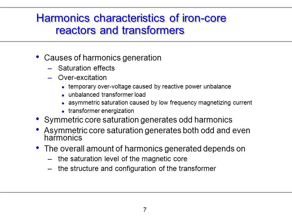 Harmonics characteristics of iron-core reactors and transformers