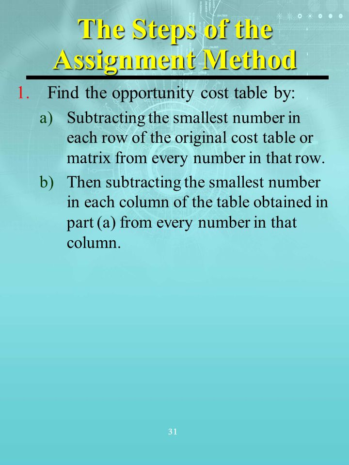 The Steps of the Assignment Method
