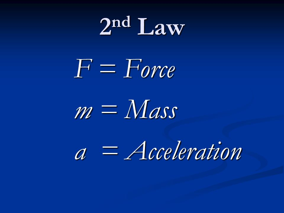 2nd Law F = Force m = Mass a = Acceleration