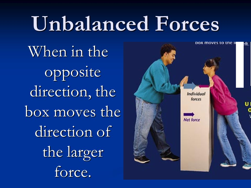 Unbalanced Forces When in the opposite direction, the box moves the direction of the larger force.