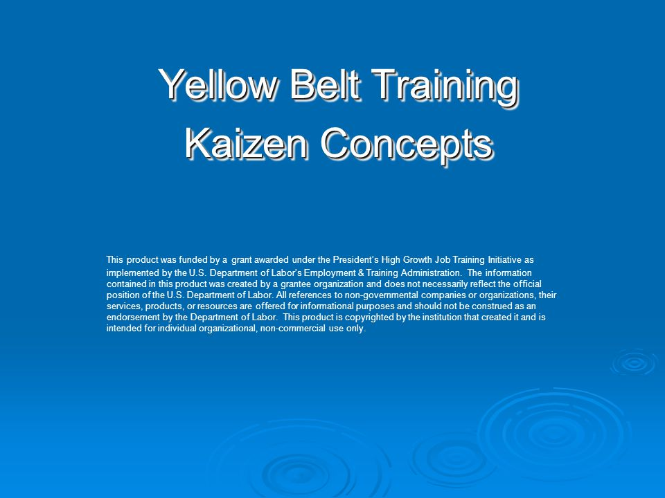 Yellow Belt Training Kaizen Concepts