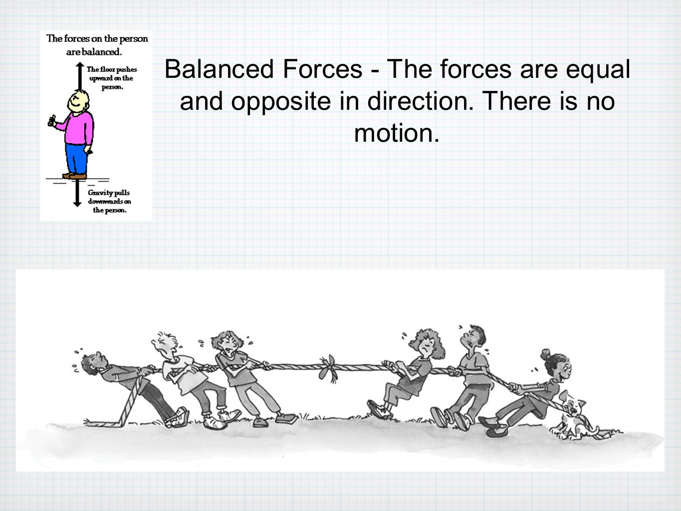 Balanced Forces - The forces are equal and opposite in direction