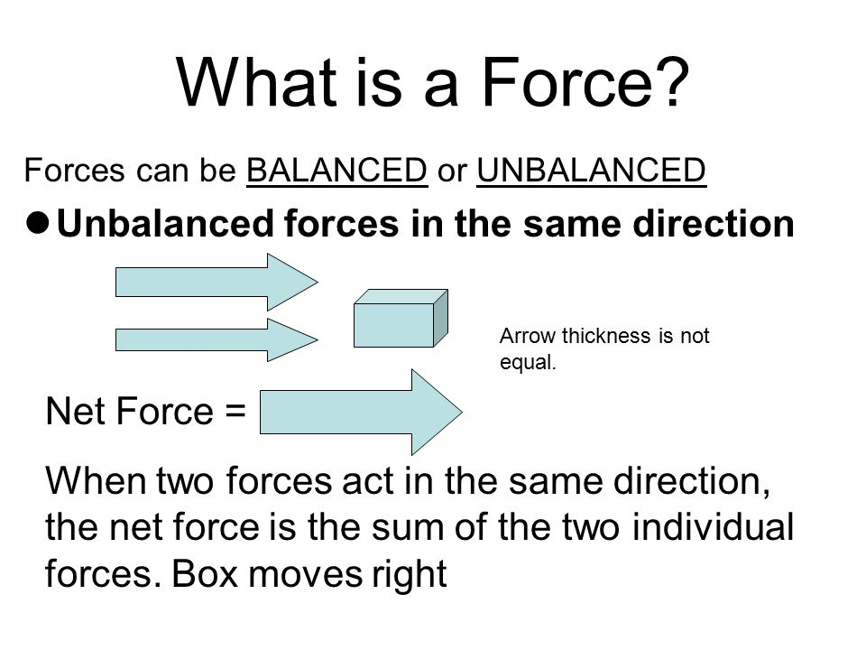 What is a Force Unbalanced forces in the same direction Net Force =