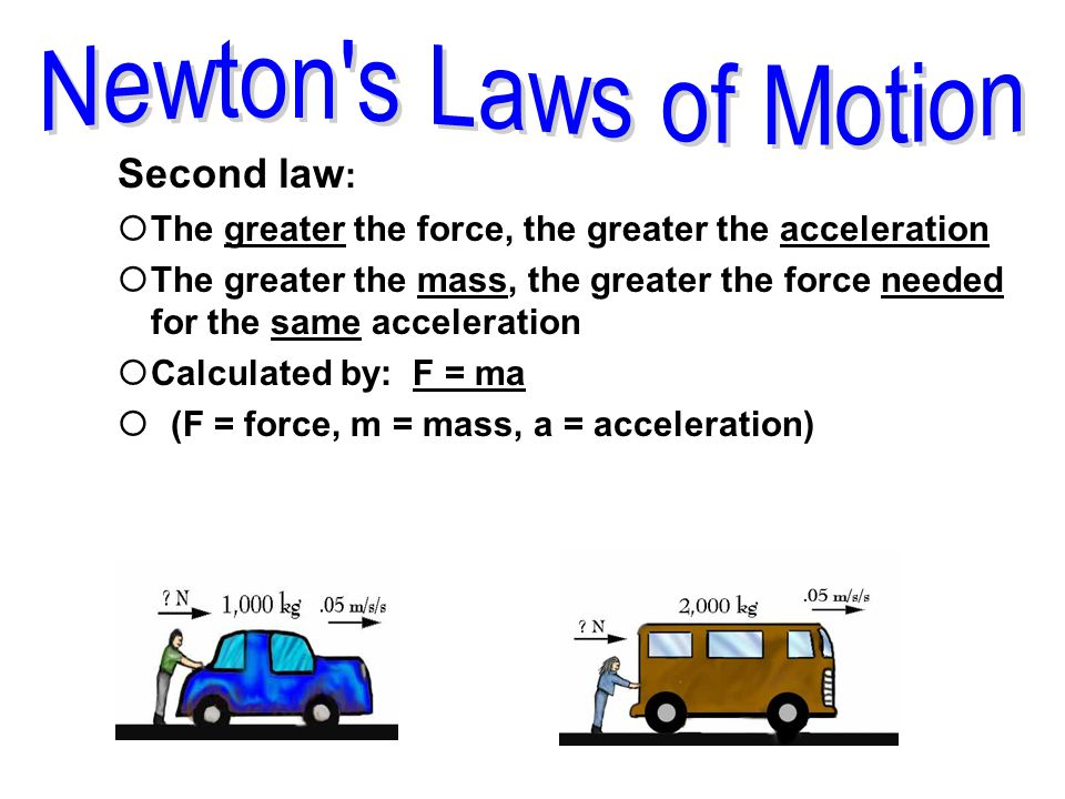 Newton s Laws of Motion Second law:
