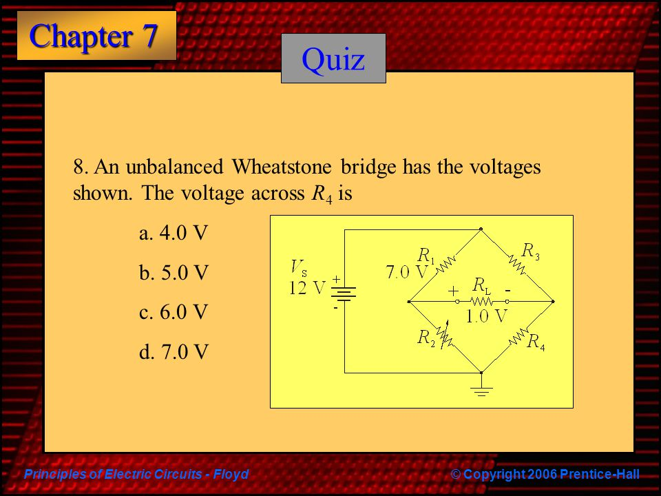 Quiz 8. An unbalanced Wheatstone bridge has the voltages shown. The voltage across R4 is. a. 4.0 V.