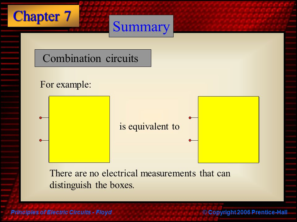 Summary Summary Combination circuits For example: is equivalent to