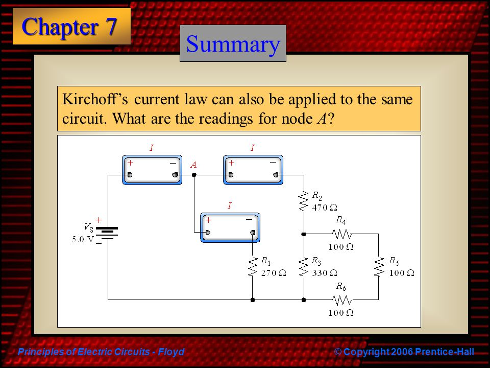 Summary Summary. Kirchoff's current law can also be applied to the same circuit.