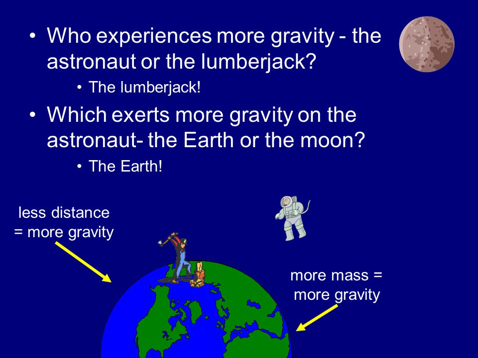 Who experiences more gravity - the astronaut or the lumberjack