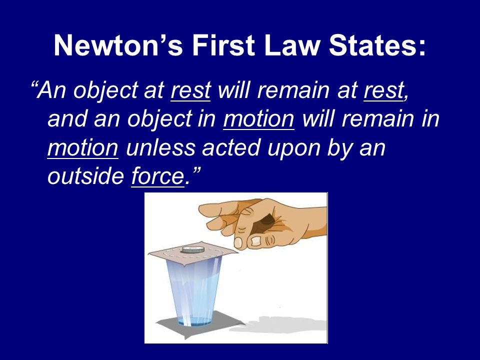 Newton's First Law States:
