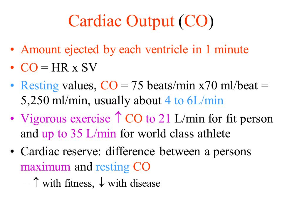 Cardiac Output (CO) Amount ejected by each ventricle in 1 minute