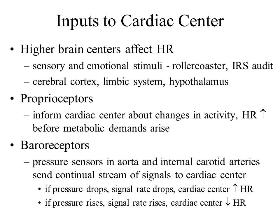 Inputs to Cardiac Center