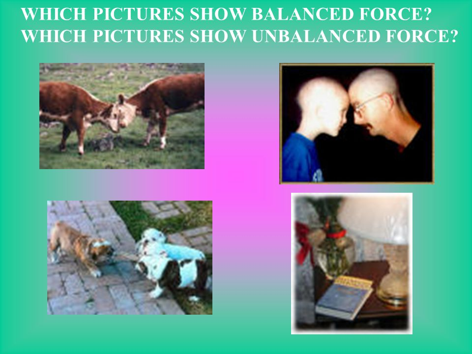 WHICH PICTURES SHOW BALANCED FORCE