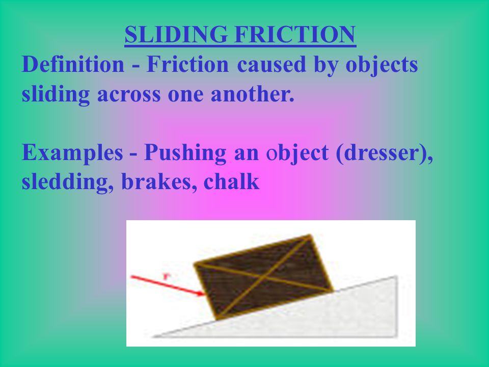 SLIDING FRICTION Definition - Friction caused by objects sliding across one another.