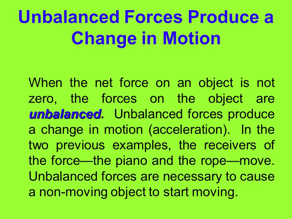Unbalanced Forces Produce a Change in Motion