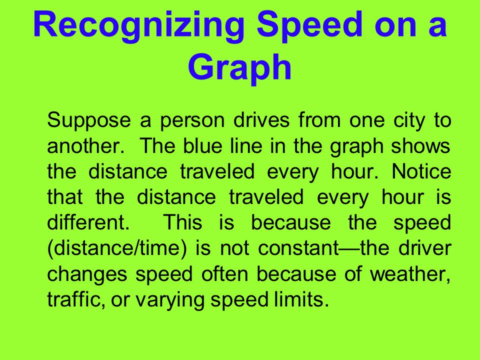 Recognizing Speed on a Graph
