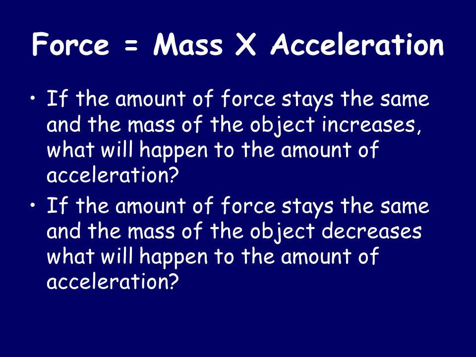 Force = Mass X Acceleration
