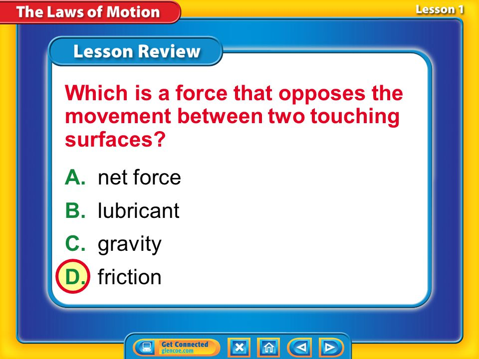 Which is a force that opposes the movement between two touching surfaces