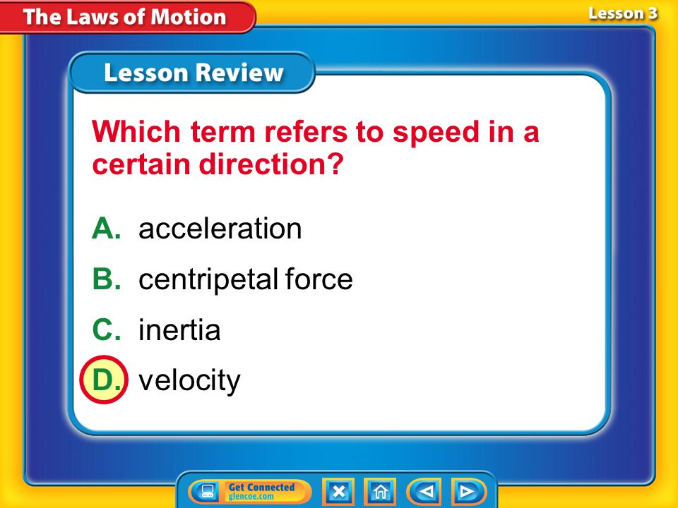 Which term refers to speed in a certain direction