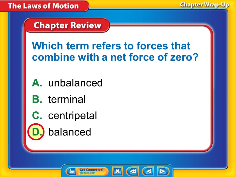 Which term refers to forces that combine with a net force of zero