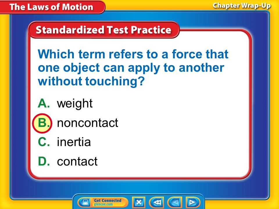 Which term refers to a force that one object can apply to another without touching