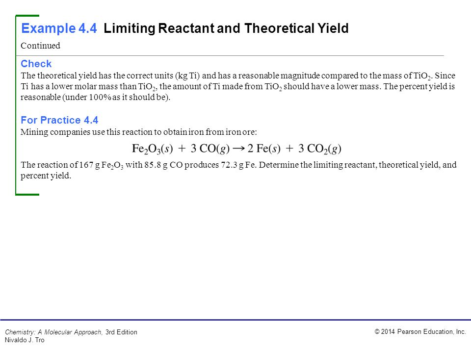 Example 4.4 Limiting Reactant and Theoretical Yield
