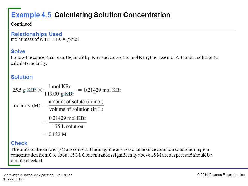 Example 4.5 Calculating Solution Concentration