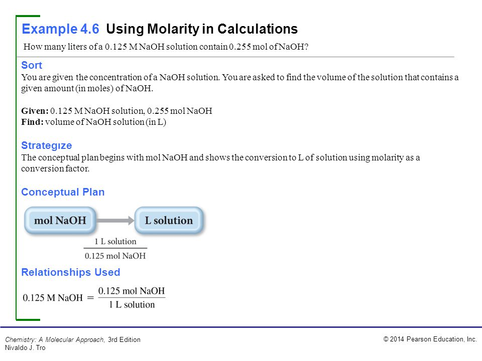 Example 4.6 Using Molarity in Calculations