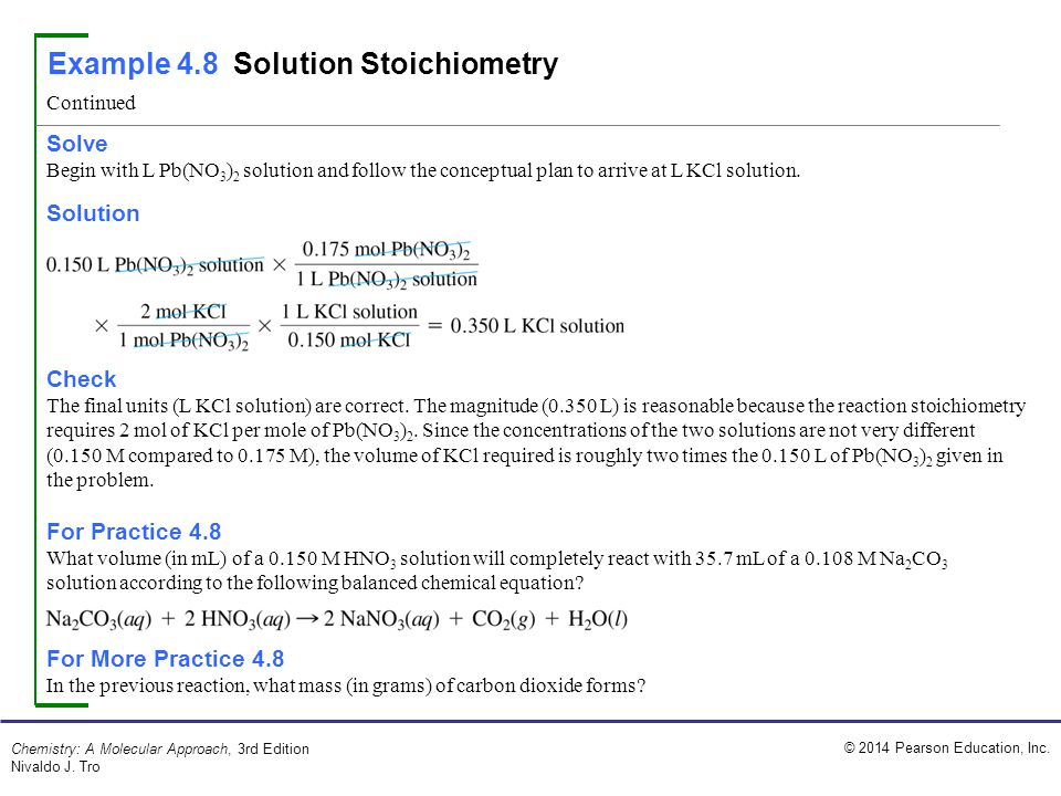 Example 4.8 Solution Stoichiometry