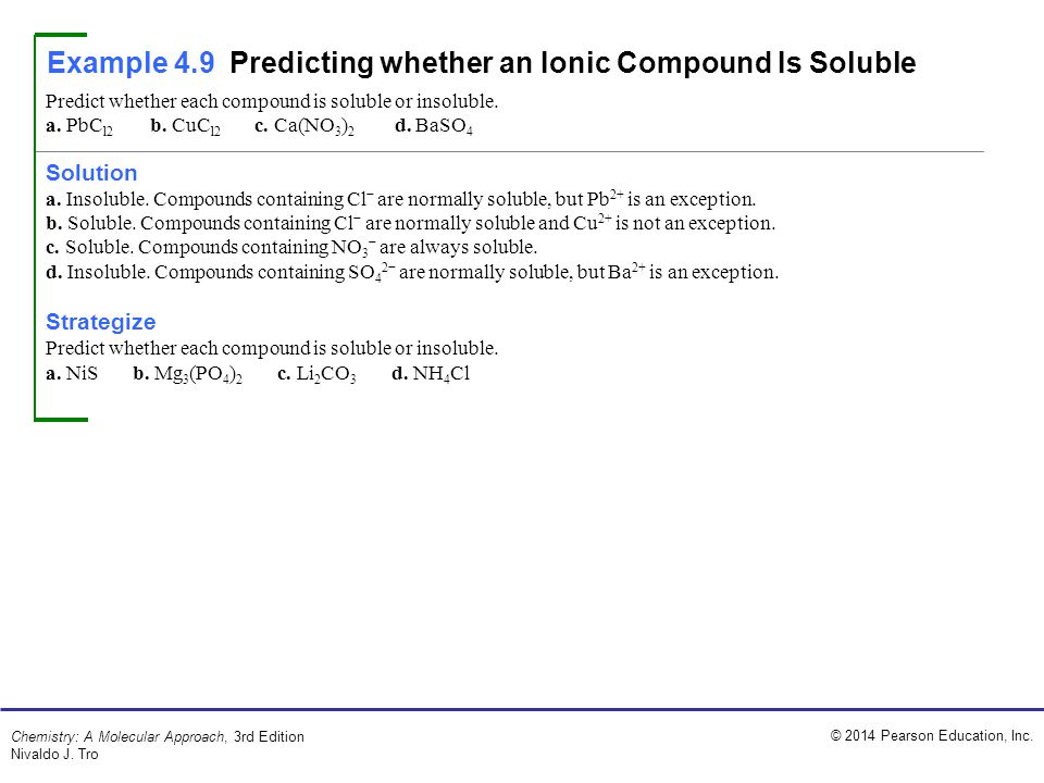 Example 4.9 Predicting whether an Ionic Compound Is Soluble