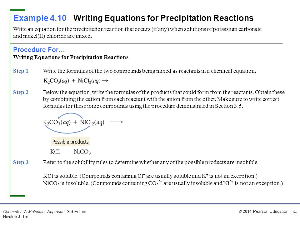 Example 4.10 Writing Equations for Precipitation Reactions