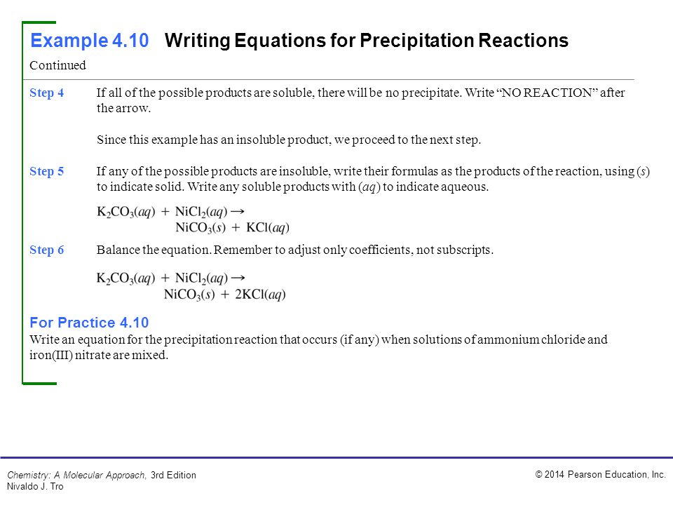 Example 4.10 Writing Equations for Precipitation Reactions