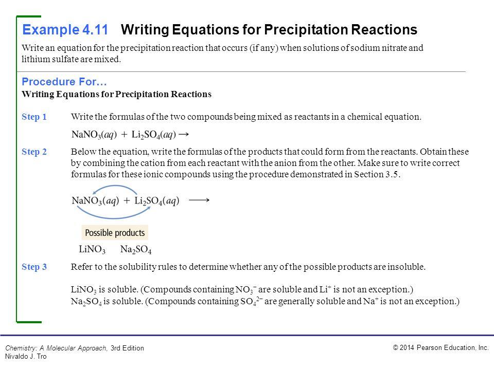 Example 4.11 Writing Equations for Precipitation Reactions
