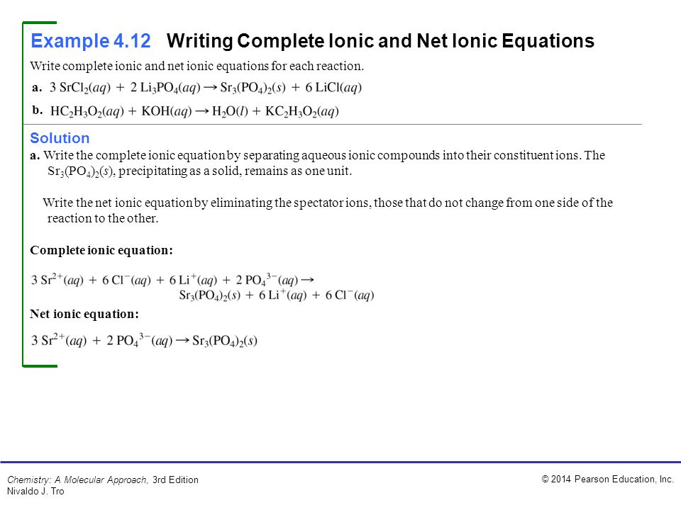 Example 4.12 Writing Complete Ionic and Net Ionic Equations