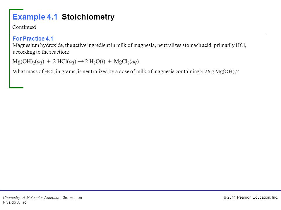 Example 4.1 Stoichiometry