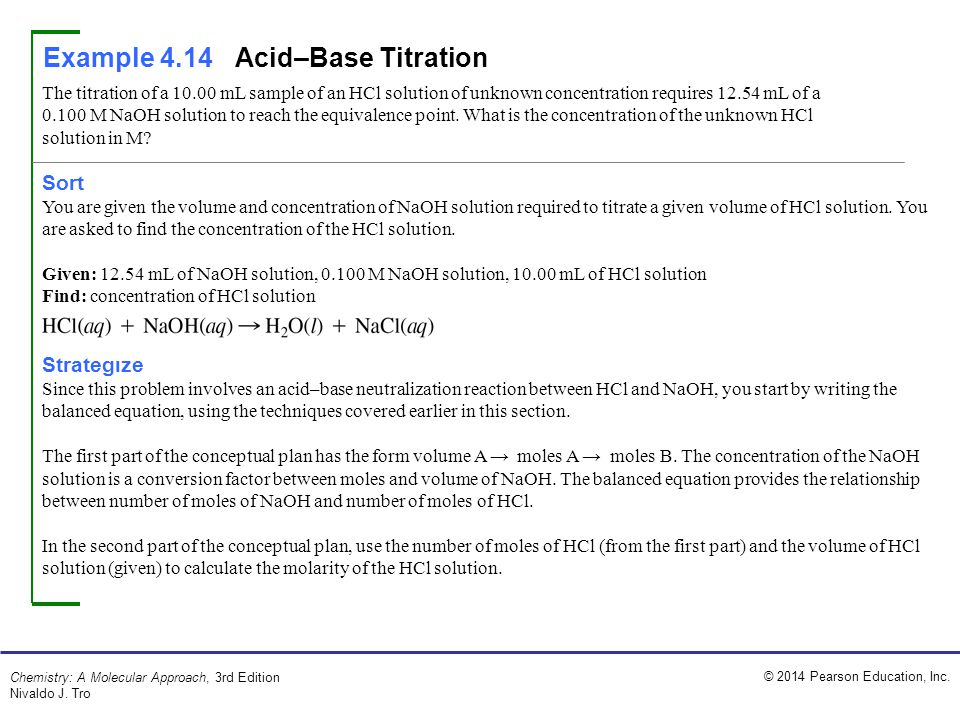 Example 4.14 Acid–Base Titration
