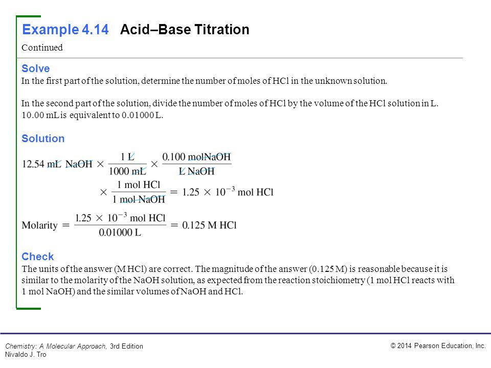 Example 4.14 Acid–Base Titration