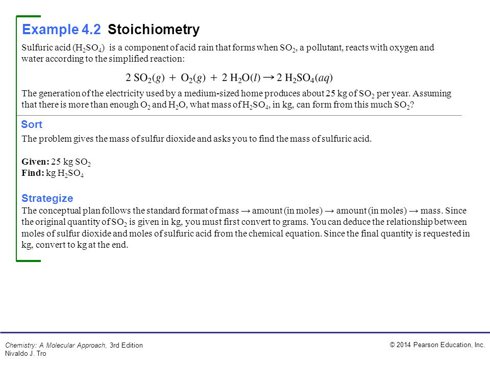 Example 4.2 Stoichiometry