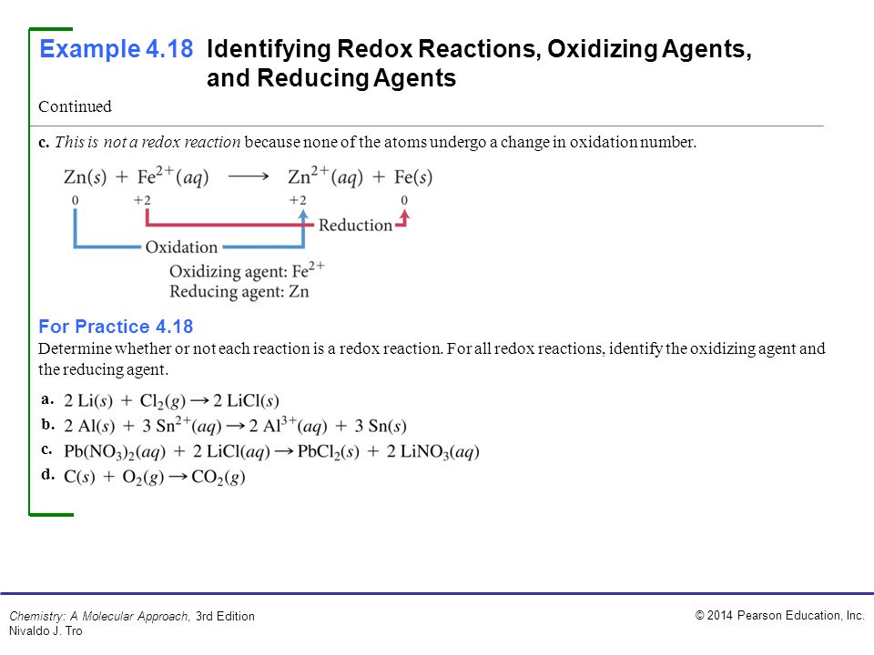 Example 4.18 Identifying Redox Reactions, Oxidizing Agents, and Reducing Agents
