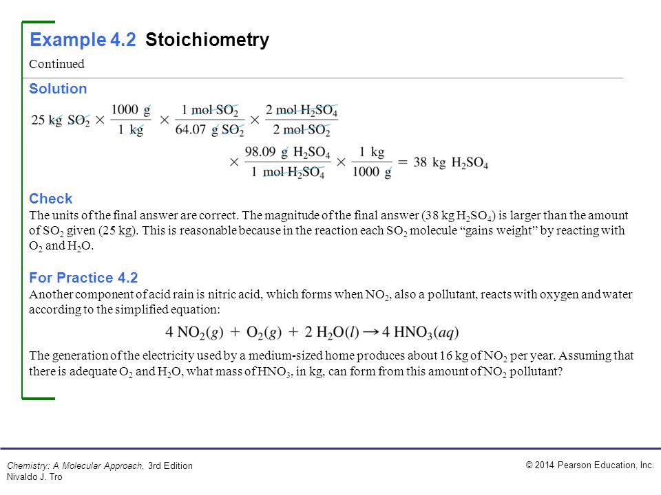 Example 4.2 Stoichiometry