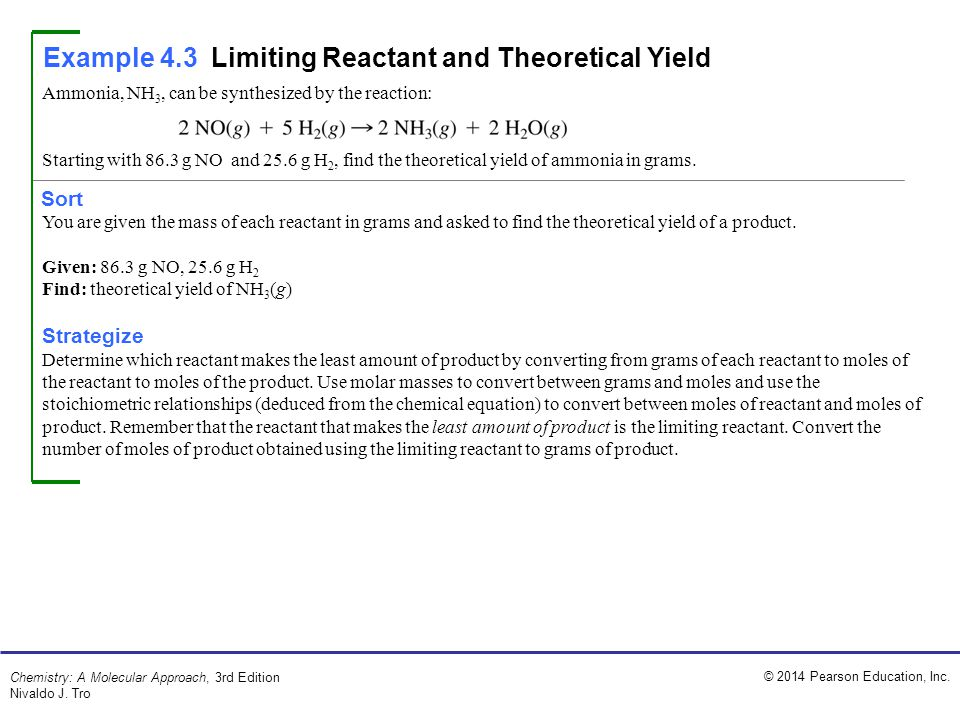 Example 4.3 Limiting Reactant and Theoretical Yield